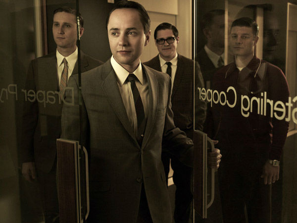 Aaron Staton (Ken Cosgrove), Vinvent Kartheiser (Pete Campbell), Rich Sommer (Harry Crane) and Jay R. Ferguson (Stan Rizzo) appear in a promotional photo for season five of AMC's 'Mad Men,' which premieres on March 25, 2012.