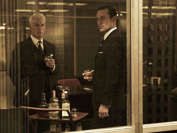 "<div class=""meta image-caption""><div class=""origin-logo origin-image ""><span></span></div><span class=""caption-text"">John Slattery (Roger Sterling) and Jon Hamm (Don Draper) appear in a promotional photo for season five of AMC's 'Mad Men,' which premieres on March 25, 2012. (Frank Ockenfels 3 / AMC)</span></div>"