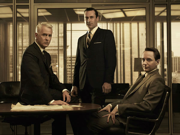 "<div class=""meta image-caption""><div class=""origin-logo origin-image ""><span></span></div><span class=""caption-text"">John Slattery, Jon Hamm and Vincent Kartheiser appear in a promotional photo for season five of AMC's 'Mad Men,' which premieres on March 25, 2012.  (Frank Ockenfels 3 / AMC)</span></div>"
