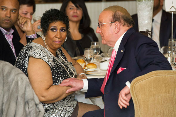 Aretha Franklin and Clive Davis attend her seventieth birthday party in New York, Saturday, March 24, 2012.