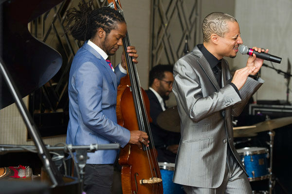 Jose James performs at Aretha Franklin's seventieth birthday party in New York, Saturday, March 24, 2012.