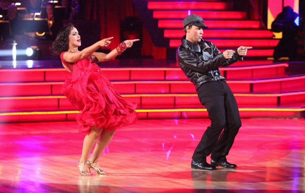 "<div class=""meta ""><span class=""caption-text "">Singer Gavin DeGraw  and his partner Karina Smirnoff received 21 out of 30 points from the judges for their jive on week two of 'Dancing With The Stars,' which aired on March 26, 2012. (ABC Photo/ Adam Taylor)</span></div>"
