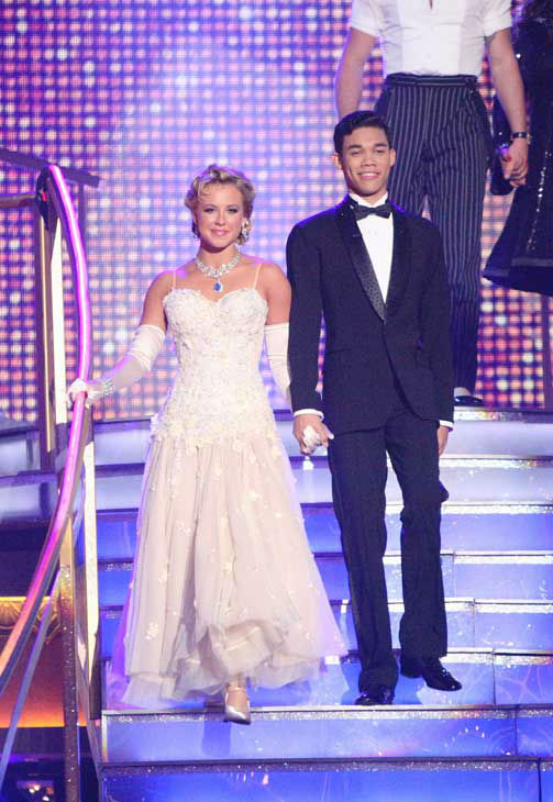 Disney Channel star Roshon Fegan and his partner Chelsie Hightower received 26 out of 30 points from the judges for their quickstep on week two of 'Dancing With The Stars,' which aired on March 26, 2012.