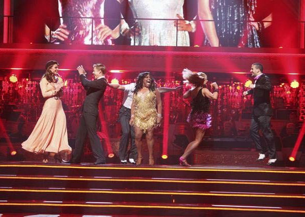 Maria Menounos and her partner Derek Hough, Sherri Shepherd and her partner Valentin Chmerkovskiy and Katherine Jenkins and her partner Mark Ballas react to being safe from elimination on &#39;Dancing With The Stars: The Result Show&#39; on Tuesday, March 27, 2012. The pair received 23 out of 30 points from the judges for their jive on the March 26 episode of &#39;Dancing With The Stars.&#39; <span class=meta>(ABC Photo&#47; Adam Taylor)</span>
