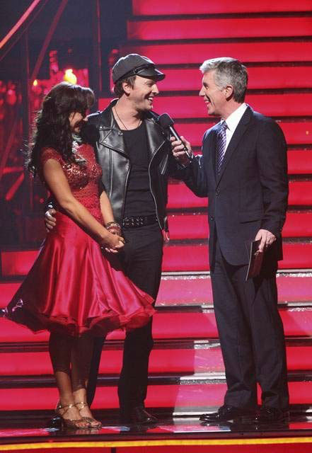 "<div class=""meta ""><span class=""caption-text "">Singer Gavin DeGraw and his partner Karina Smirnoff react to being in danger of elimination on 'Dancing With The Stars: The Result Show' on Tuesday, March 27, 2012. The pair received 21 out of 30 points from the judges for their jive on the March 26 episode of 'Dancing With The Stars.' (ABC Photo/ Adam Taylor)</span></div>"