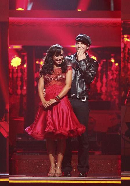 Singer Gavin DeGraw and his partner Karina Smirnoff react to being in danger of elimination on &#39;Dancing With The Stars: The Result Show&#39; on Tuesday, March 27, 2012. The pair received 21 out of 30 points from the judges for their jive on the March 26 episode of &#39;Dancing With The Stars.&#39; <span class=meta>(ABC Photo&#47; Adam Taylor)</span>