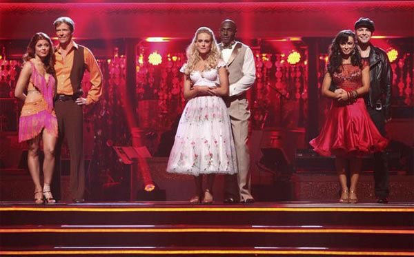 Football player Donald Driver and his partner Peta Murgatroyd react to being in danger o