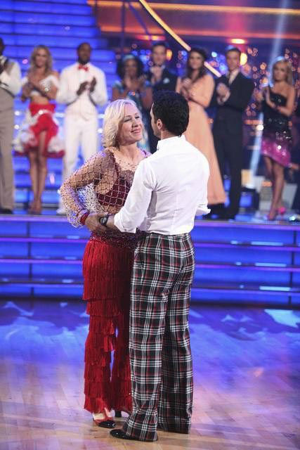 Tennis legend Martina Navratilova and her partner Tony Dovolani react to being eliminated on 'Dancing With The Stars: The Result Show' on Tue