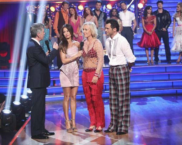 Tennis legend Martina Navratilova and her partner Tony Dovolani react to being eliminated on 'Dancing With The Stars: The Result Show' on Tuesday, Ma