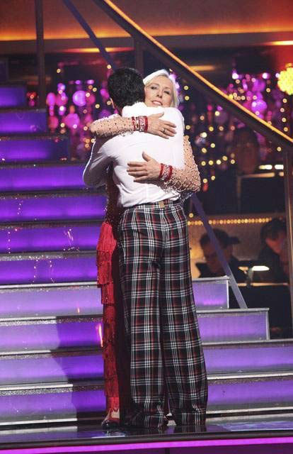 Tennis legend Martina Navratilova and her partner Tony Dovolani react to being eliminated on 'Dancing With The Stars: The Result Show' on Tu