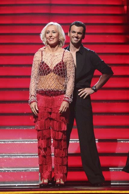 Tennis legend Martina Navratilova and her partner Tony Dovolani await possible elimination on 'Dancing With The Stars: The Result Show' on Tuesday, Mar