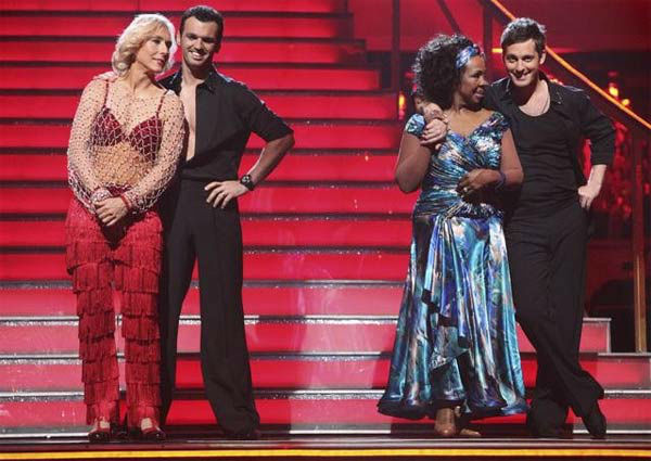 "<div class=""meta ""><span class=""caption-text "">Tennis legend Martina Navratilova and her partner Tony Dovolani  and Gladys Knight and her partner Tristan MacManus await possible elimination on 'Dancing With The Stars: The Result Show' on Tuesday, March 27, 2012.  (ABC Photo/ Adam Taylor)</span></div>"