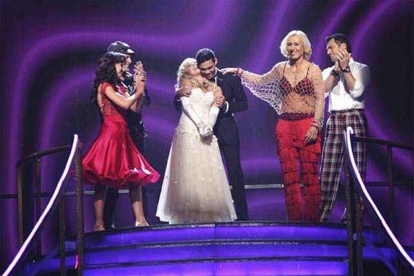 Disney Channel star Roshon Fegan and his partner Chelsie Hightower react to being in danger of elimination on 'Dancing With The Stars: The Result Show' on Tuesday, March 27, 2012. The pair received 26 out