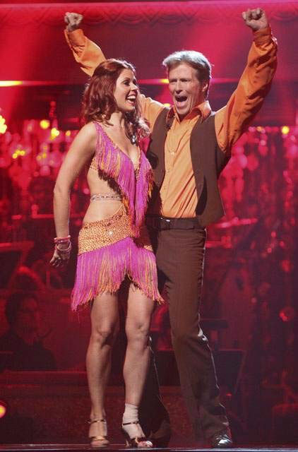 Actor Jack Wagner and his partner Anna Trebunskaya react to being safe from elimination on 'Dancing With The Stars: The Result Show' on Tuesday, March 27, 2012. The pair received 21 out of 30points from the judges for their jive on the March 26 episode of