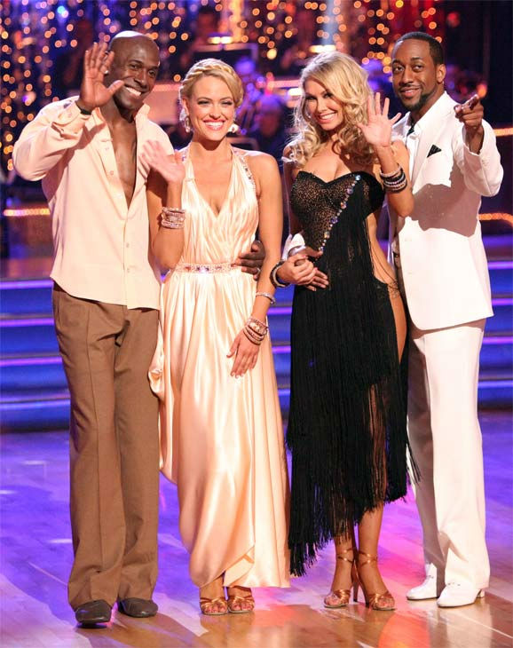 Football star Donald Driver and his partner Peta Murgatroyd pose with actor Jaleel White and his partner Kym Johnson on week three of &#39;Dancing With The Stars&#39; on April 2, 2012. <span class=meta>(ABC&#47;Adam Taylor)</span>