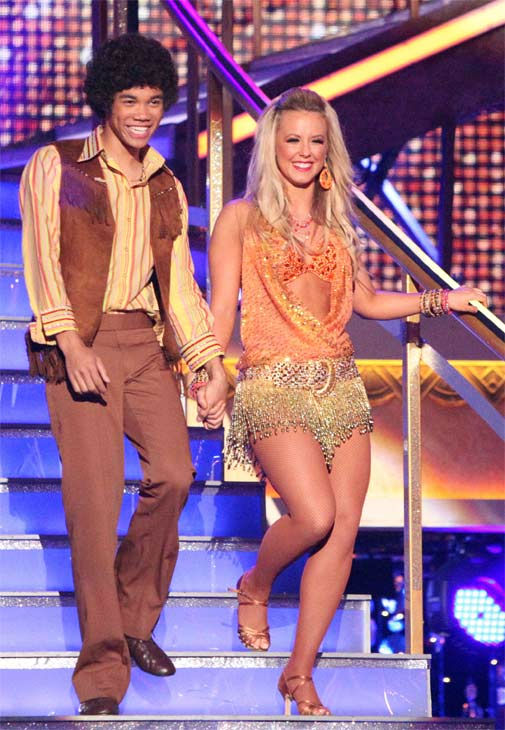 Disney Channel star Roshon Fegan and his partner Chelsie Hightower received 25 out of 30 points from the judges for their Samba on week three of 'Dancing With The Stars,' which aired on April 2, 2012.