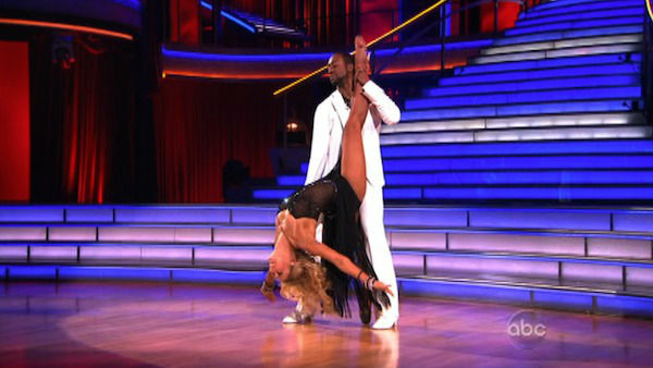 Jaleel White, who played Steve Urkel on &#39;Family Matters,&#39; and his partner Kym Johnson received 25 out of 30 points from the judges for their Rumba on week three of &#39;Dancing With The Stars,&#39; which aired on April 2, 2012.  <span class=meta>(ABC Photo)</span>