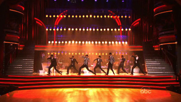 The season&#39;s first &#39;Macy&#39;s Stars of Dance&#39; on &#39;Dancing With The Stars: The Results Show&#39; on Tuesday, April 3, 2012, included an all-star dance number featuring some of Hollywood&#39;s high profile male dancers from film and TV, including Kenny Wormald of &#39;Footloose&#39;, Twitch from &#39;Step Up 3D&#39; and &#39;Step Up 4&#39;, Travis Wall and many others.  The performance was accompanied by Grooveline Horns, who performed their composition &#39;Copchase.&#39; <span class=meta>(ABC Photo)</span>