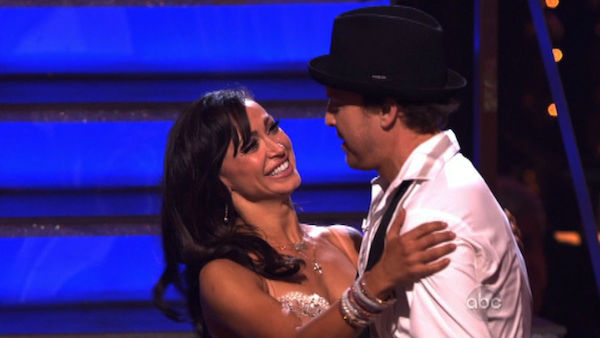 Singer Gavin DeGraw and his partner Karina Smirnoff react to being safe from elimination on &#39;Dancing With The Stars: The Results Show&#39; on Tuesday, April 3, 2012. The pair received 24 out of 30 points from the judges for their Rumba on week three of &#39;Dancing With The Stars,&#39; which aired on April 2, 2012. <span class=meta>(ABC Photo)</span>