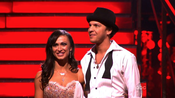 Singer Gavin DeGraw and his partner Karina Smirnoff await possible elimination on &#39;Dancing With The Stars: The Result Show&#39; on Tuesday, April 3, 2012. The pair received 24 out of 30 points from the judges for their Rumba on week three of &#39;Dancing With The Stars,&#39; which aired on April 2, 2012. <span class=meta>(ABC Photo)</span>