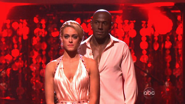 Football star Donald Driver and his partner Peta Murgatroyd await possible elimination on &#39;Dancing With The Stars: The Result Show&#39; on Tuesday, April 3, 2012. The pair received 26 out of 30 points from the judges for their Rumba on week three of &#39;Dancing With The Stars,&#39; which aired on April 2, 2012.  <span class=meta>(ABC Photo)</span>