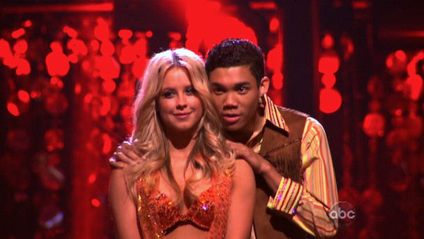 "<div class=""meta image-caption""><div class=""origin-logo origin-image ""><span></span></div><span class=""caption-text"">Disney Channel star Roshon Fegan and his partner Chelsie Hightower await possible elimination on 'Dancing With The Stars: The Result Show' on Tuesday, April 3, 2012. The pair received 25 out of 30 points from the judges for their Samba on week three of 'Dancing With The Stars,' which aired on April 2, 2012. (ABC Photo)</span></div>"