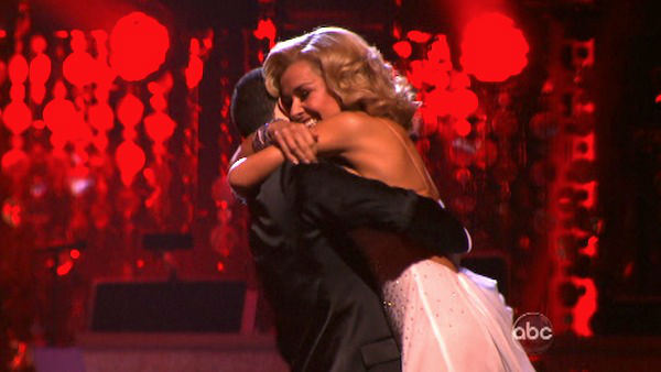 "<div class=""meta image-caption""><div class=""origin-logo origin-image ""><span></span></div><span class=""caption-text"">Classical singer Katherine Jenkins and her partner Mark Ballas react to being safe from elimination on 'Dancing With The Stars: The Results Show' on Tuesday, April 3, 2012. The pair received 29 out of 30 points from the judges for their Waltz on week three of 'Dancing With The Stars,' which aired on April 2, 2012. (ABC Photo)</span></div>"