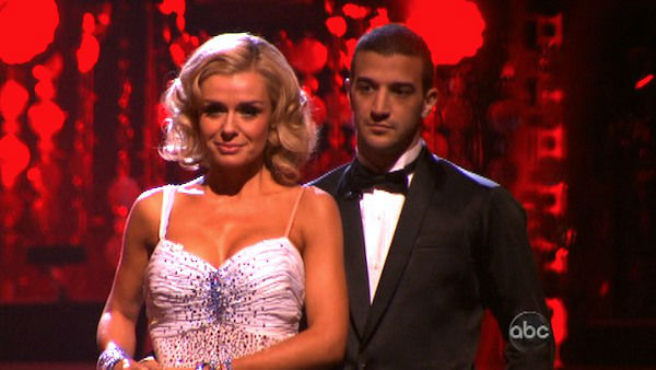 "<div class=""meta image-caption""><div class=""origin-logo origin-image ""><span></span></div><span class=""caption-text"">Classical singer Katherine Jenkins and her partner Mark Ballas await possible elimination on 'Dancing With The Stars: The Result Show' on Tuesday, April 3, 2012. The pair received 29 out of 30 points from the judges for their Waltz on week three of 'Dancing With The Stars,' which aired on April 2, 2012. (ABC Photo)</span></div>"