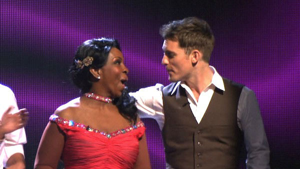 R&#38;B legend Gladys Knight and her partner Tristan MacManus react to being safe from elimination on &#39;Dancing With The Stars: The Results Show&#39; on Tuesday, April 3, 2012. The pair received 24 out of 30 points from the judges for their Foxtrot on week three of &#39;Dancing With The Stars,&#39; which aired on April 2, 2012. <span class=meta>(ABC Photo)</span>