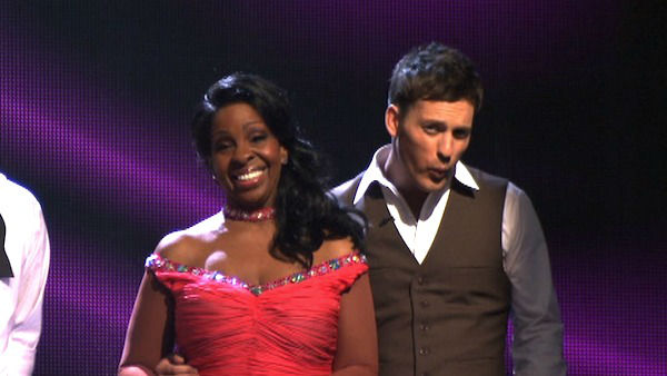 R&#38;B legend Gladys Knight and her partner Tristan MacManus await possible elimination on &#39;Dancing With The Stars: The Result Show&#39; on Tuesday, April 3, 2012. The pair received 24 out of 30 points from the judges for their Foxtrot on week three of &#39;Dancing With The Stars,&#39; which aired on April 2, 2012. <span class=meta>(ABC Photo)</span>
