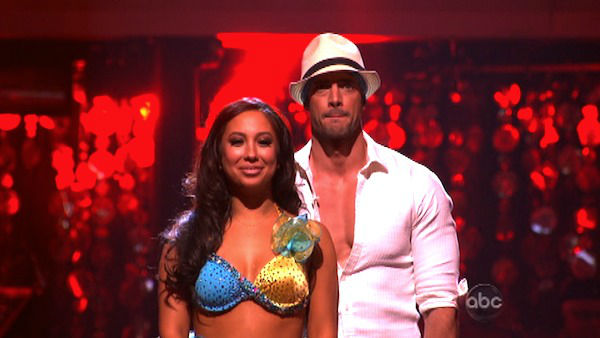Telenovela star William Levy and his partner Cheryl Burke await possible elimination on &#39;Dancing With The Stars: The Result Show&#39; on Tuesday, April 3, 2012. The pair received 28 out of 30 points from the judges for their Salsa on week three of &#39;Dancing With The Stars,&#39; which aired on April 2, 2012. <span class=meta>(ABC Photo)</span>