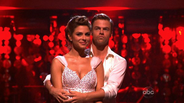 "<div class=""meta image-caption""><div class=""origin-logo origin-image ""><span></span></div><span class=""caption-text"">TV personality Maria Menounos and her partner Derek Hough await possible elimination on 'Dancing With The Stars: The Result Show' on Tuesday, April 3, 2012. The pair received 27 out of 30 points from the judges for their Rumba on week three of 'Dancing With The Stars,' which aired on April 2, 2012. (ABC Photo)</span></div>"