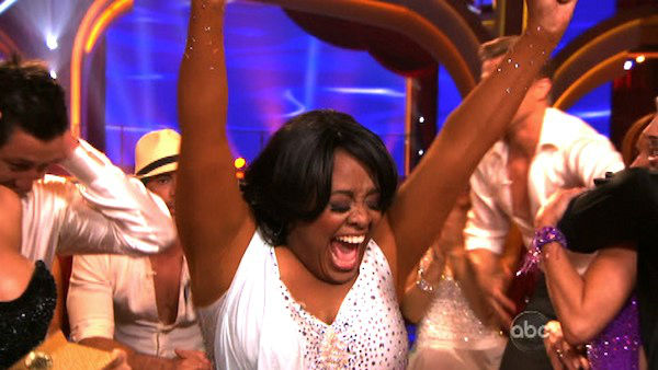 &#39;The View&#39; co-host Sherri Shepherd and her partner Valentin Chmerkovskiy react to being safe from elimination on &#39;Dancing With The Stars: The Results Show&#39; on Tuesday, April 3, 2012. The pair received 24 out of 30 points from the judges for their Rumba on week three of &#39;Dancing With The Stars,&#39; which aired on April 2, 2012. <span class=meta>(ABC Photo)</span>