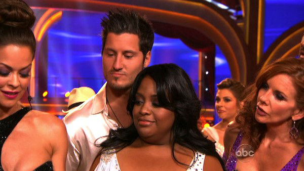 "<div class=""meta image-caption""><div class=""origin-logo origin-image ""><span></span></div><span class=""caption-text"">'The View' co-host Sherri Shepherd and her partner Valentin Chmerkovskiy await possible elimination on 'Dancing With The Stars: The Result Show' on Tuesday, April 3, 2012. The pair received 24 out of 30 points from the judges for their Rumba on week three of 'Dancing With The Stars,' which aired on April 2, 2012. (ABC Photo)</span></div>"