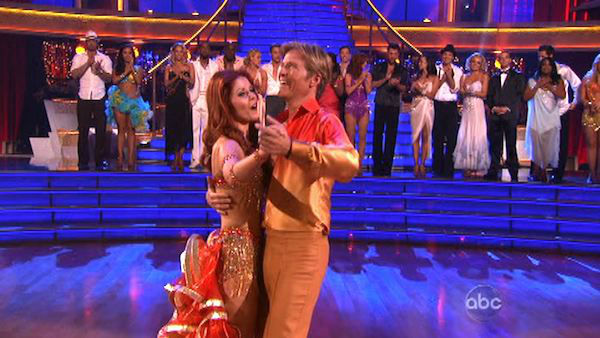 "<div class=""meta image-caption""><div class=""origin-logo origin-image ""><span></span></div><span class=""caption-text"">Jack Wagner, formerly of 'Melrose Place,' and his partner Anna Trebunskaya react to being eliminated on 'Dancing With The Stars: The Result Show' on Tuesday, April 3, 2012. The pair received 24 out of 30 points from the judges for their Samba on week three of 'Dancing With The Stars,' which aired on April 2, 2012. (ABC Photo)</span></div>"