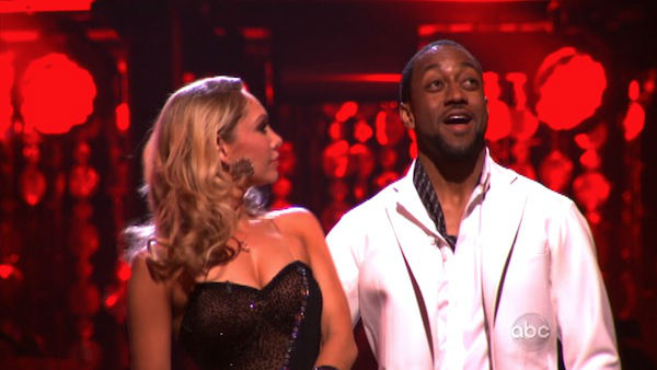 Jaleel White, who played Steve Urkel on &#39;Family Matters,&#39; and his partner Kym Johnson react to being safe from elimination on &#39;Dancing With The Stars: The Results Show&#39; on Tuesday, April 3, 2012. The pair received 25 out of 30 points from the judges for their Rumba on week three of &#39;Dancing With The Stars,&#39; which aired on April 2, 2012.  <span class=meta>(ABC Photo)</span>
