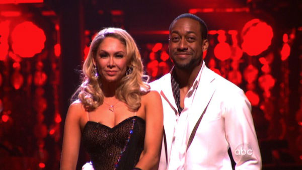 "<div class=""meta image-caption""><div class=""origin-logo origin-image ""><span></span></div><span class=""caption-text"">Jaleel White, who played Steve Urkel on 'Family Matters,' and his partner Kym Johnson await possible elimination on 'Dancing With The Stars: The Result Show' on Tuesday, April 3, 2012. The pair received 25 out of 30 points from the judges for their Rumba on week three of 'Dancing With The Stars,' which aired on April 2, 2012.  (ABC Photo)</span></div>"