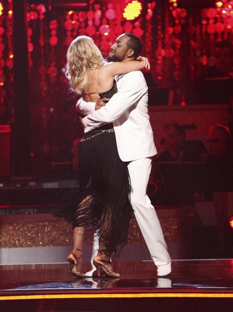 Jaleel White, who played Steve Urkel on &#39;Family Matters,&#39; and his partner Kym Johnson await possible elimination on &#39;Dancing With The Stars: The Result Show&#39; on Tuesday, April 3, 2012. The pair received 25 out of 30 points from the judges for their Rumba on week three of &#39;Dancing With The Stars,&#39; which aired on April 2, 2012.  <span class=meta>(ABC Photo)</span>
