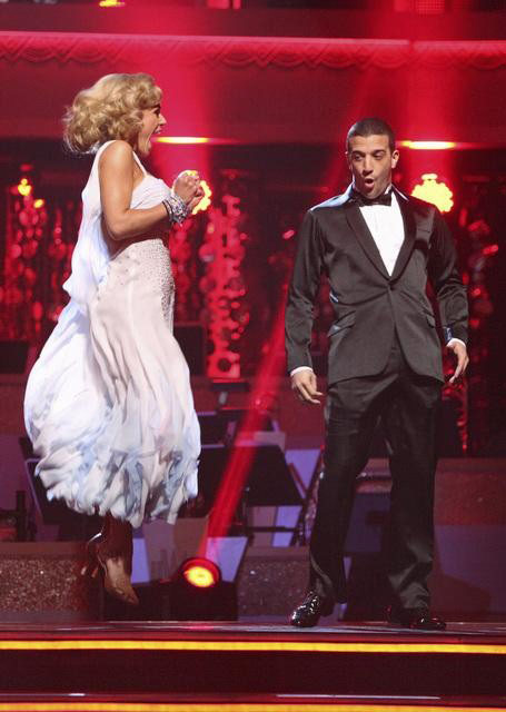 Classical singer Katherine Jenkins and her partner Mark Ballas await possible elimination on &#39;Dancing With The Stars: The Result Show&#39; on Tuesday, April 3, 2012. The pair received 29 out of 30 points from the judges for their Waltz on week three of &#39;Dancing With The Stars,&#39; which aired on April 2, 2012. <span class=meta>(ABC Photo)</span>