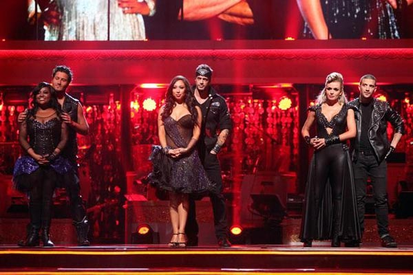 Katherine Jenkins, William Levy and Sherri Shepherd await elimination results on 'Dancing With The Stars: The Results Show' on Tuesday, April 10, 2012.