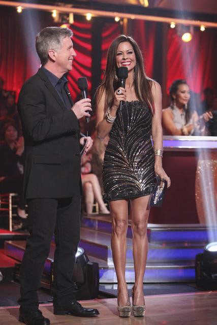 Hosts Brooke Charvet and Tom Bergeron appear in a scene from 'Dancing With The Stars: The Results Show' on Tuesday, April 10, 2012.