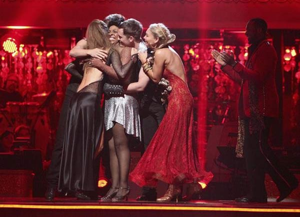"<div class=""meta ""><span class=""caption-text "">Katherine Jenkins, William Levy and Sherri Shepherd react to the elimination results on 'Dancing With The Stars: The Results Show' on Tuesday, April 10, 2012. (ABC Photo)</span></div>"