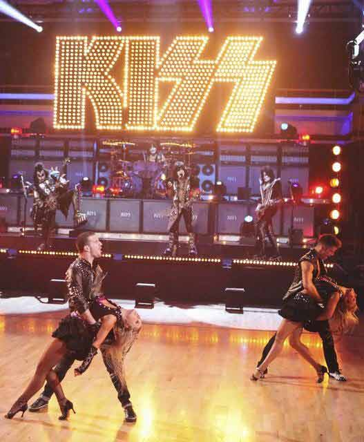 KISS returned to the 'Dancing With The Stars' stage for a performance of 'Lick it Up' on 'Dancing With The Stars: The Results Show' on Tuesday, April 10, 2012.