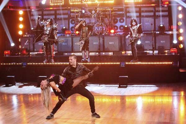 KISS returned to the &#39;Dancing With The Stars&#39; stage for a performance of &#39;Lick it Up,&#39; with Mark Ballas, Chelsie Hightower, Henry Byalikov and Oksana Dmytrenko accompanying their performance on &#39;Dancing With The Stars: The Results Show&#39; on Tuesday, April 10, 2012. <span class=meta>(ABC Photo)</span>