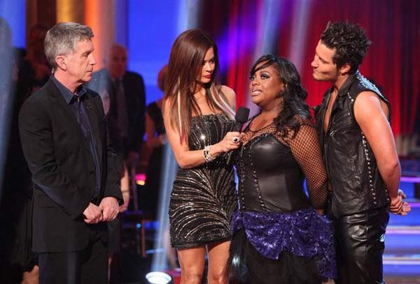 &#39;The View&#39; co-host Sherri Shepherd and her partner Valentin Chmerkovskiy react to being eliminated from &#34;Dancing With The Stars&#34; on April 10, 2012. The pair received 26 out of 30 points from the judges for their Viennese Waltz on week four of &#39;Dancing With The Stars,&#39; which aired on April 9, 2012. <span class=meta>(ABC Photo)</span>