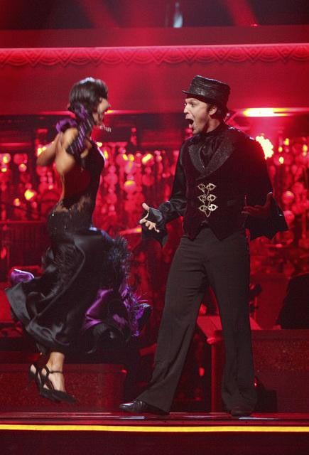 Singer Gavin DeGraw and his partner Karina Smirnoff react to being safe from elimination on 'Dancing With The Stars: The Results Show' on Tuesday, April 10, 2012.
