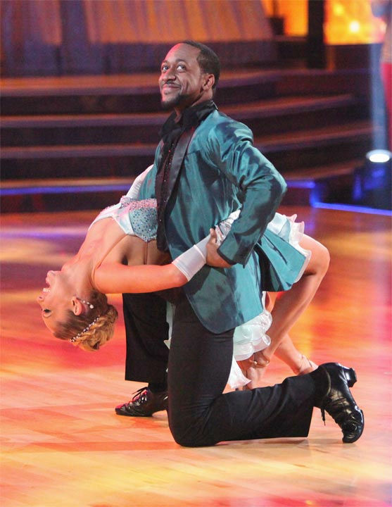 Jaleel White, who played Steve Urkel on &#39;Family Matters,&#39; and his partner Kym Johnson received 29 out of 30 points from the judges for their Cha Cha to The Temptations&#39; &#39;Ain&#39;t Too Proud to Beg&#39; on week six of &#39;Dancing With The Stars,&#39; which aired on Monday, April 23, 2012. <span class=meta>(ABC Photo&#47; Adam Taylor)</span>