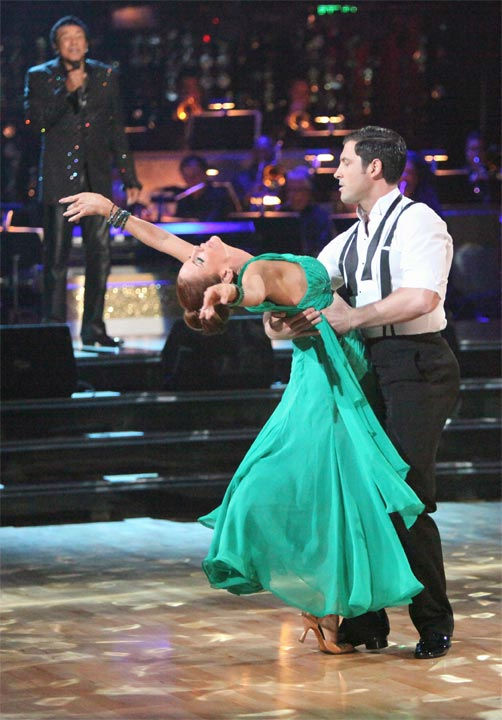 Melissa Gilbert, a former child star who played Laura on &#39;Little House on the Prairie,&#39; and her partner Maksim Chmerkovskiy received 24 out of 30 points from the judges for their Viennese Waltz to Smokey Robinson&#39;s &#39;Oooh Baby&#39; on week six of &#39;Dancing With The Stars,&#39; which aired on Monday, April 23, 2012. <span class=meta>(ABC Photo&#47; Adam Taylor)</span>