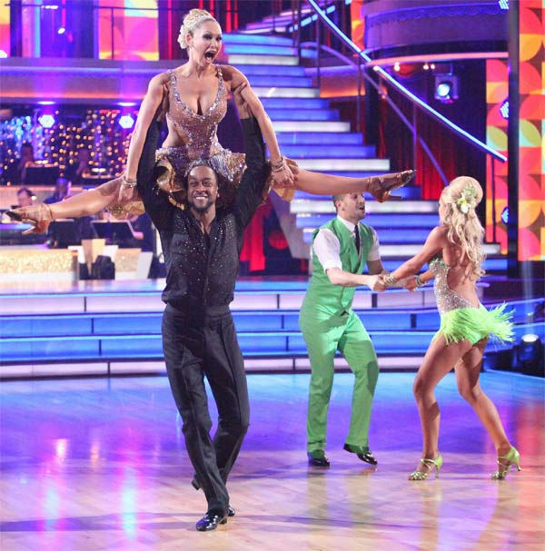 "<div class=""meta ""><span class=""caption-text "">The couples showed off their classic dance moves from the Motown era during a special Motown Dance Marathon on week 6 of 'Dancing with the Stars,' which aired on Monday, April 23, 2012. (Pictured: Actor Jaleel White and his partner Kym Johnson; background: Opera singer Katherine Jenkins and her partner Mark Ballas.) (ABC Photo/ Adam Taylor)</span></div>"