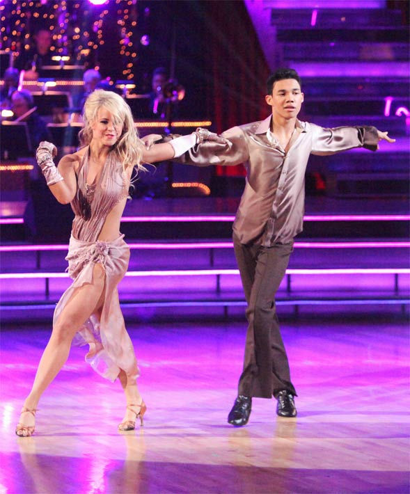 "<div class=""meta ""><span class=""caption-text "">Disney Channel star Roshon Fegan and his partner Chelsie Hightower received 23 out of 30 points from the judges for their Rumba to Smokey Robinson's 'Cruisin' on week six of 'Dancing With The Stars,' which aired on Monday, April 23, 2012. (ABC Photo/ Adam Taylor)</span></div>"